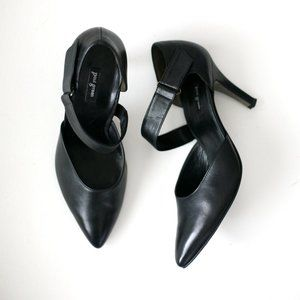 Paul Green black leather Nicki pumps strap heels
